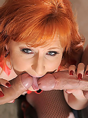 Amazing hot fire red head gets her bushy box fucked hard then creamed on in this hot 2 on 1 fucking picset