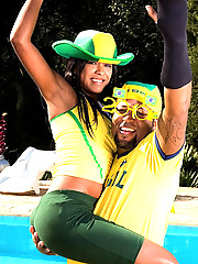 Big brazilian bikini babe gets fucked hard poolside in these world cup soccer fucking party pics