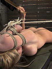 Petite big breasted Madison Scott is bound tight in rope and finger fucked to orgasms!  Category 5 hogtied suspension!