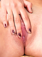 Totally naked Nubile Jenica fingering her tight pussy on the stairs in her lonesome moments
