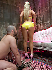 Blonde dominatrix painfully milks slaveboy then keeps him in chastity for a week!