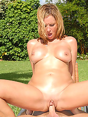 Amazing mini skirt milf looses her dog in the park then rides a dong and gets cum faced to find it hot reality pics