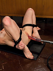 Hot blond, tied wrist to ankles then machine fucked by The Ass Blaster until she cums three times. One orgasm from her pussy, two from her tight ass
