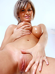 Beautiful amateur Annik spreading her pussy lips for a clear view of her tempting pink hole