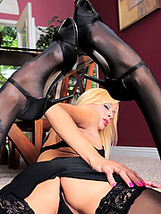 Horny cougar secretary loves to slowly peel off her office attire while you watch