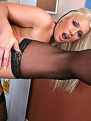 Busty slut gets her pussy plugged