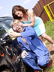 Carwasher penetrating her tight teen asshole