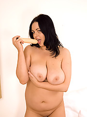 Sexy cutie with big tits playing with clit