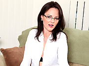 Office assistant plays with her dildo while employees are at lunch