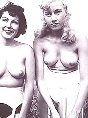 Several vintage girls posing nude in fifties