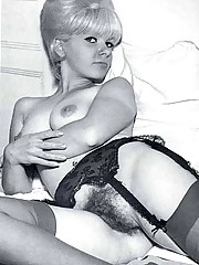 Vintage hairy blonde girls showing their body