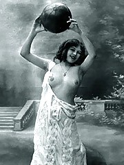 Real vintage topless girls posing in twenties