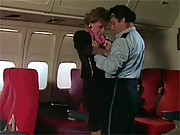 Horny couple screwing on a passenger airplane