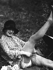 Some sexy and vintage girls playing outdoors