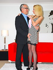 Sexy British sweetie fucks a much older dude