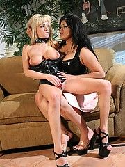 Horny lesbian slave spanked hard by a chick