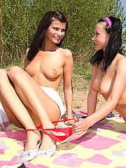 Two teenage cuties exploring eachothers body