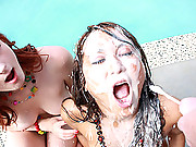 Sexy slut getting surprised by a monster facial cumshot