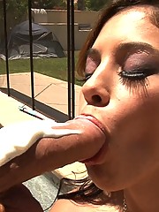 Sick girl getting her sore throat treated with a mean deepthroat