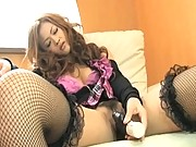 Shiho Kanou uses a large vibrator on her tight pussy to get wet