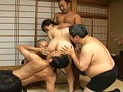 Asuka Ayanami gets finger fucked by a group of horny Asian guys