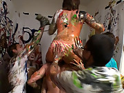 Check out this amazing body paint group sex orgy in a college dorm room amazing 4 hot movies and pics