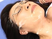 Japanese AV Model Asian cutie with cum on her face and tits