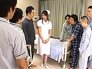 Emiri Aoi cute nurse about to be gangbanged by her patients