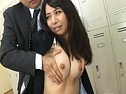 Yuka Osawa schoolgirl kissing her very horny teacher