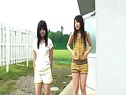Chiwa Osaki removes her shorts and pees on the sidewalk