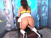 Aya is tied and gets a rear fucking from her date on stage