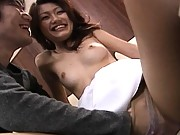 Aki Anzai has pantyhose pulled down so he can finger her