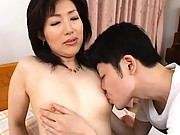 Aya Masuo removes her bra and panties for her young lover