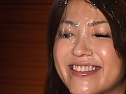 Saki Kataoka has cum dripping down her face during sexy bukkake