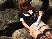 Ichika lifts up her skirt to show the camera her black panties