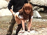 Ichika bends over and takes his hard cock from behind