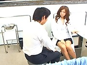 Chihiro Hara giving a handjob before sucking his hard cock