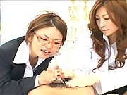 Chihiro Hara and a girlfriend share his large cock in this video