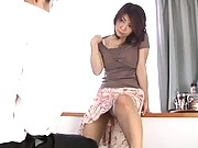 Kyoko Lovely Asian doll is showing off her sexy legs in the hotel