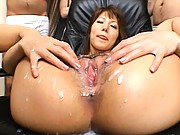Arika Takarano has cum shot all over her wet pussy