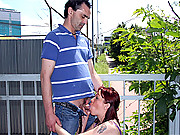 Senior fucking his hot girlfriend outdoors