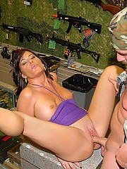 Super hot mini skirt pawn shop owner babe gets fucked hard against the counter in these hot red neck fucking pics