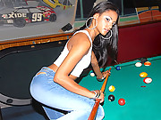 Super hot sexy long leg latina gets fucked hard agasint the pool table in these hot amateur fucking cum faced vids