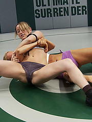 Tall Sexy blond kicks the shit out of tiny wrestler, then fucks her!  Non-scripted tournament action!