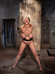 Katie Kox gets her HUGE tits, tightly bound, her elbows tightly bound, and is made to cum like a common whore, helpless to resist, unable to escape.