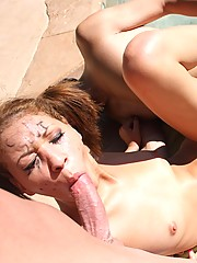 Blonde whore gets two fat cocks deep down her eager throat