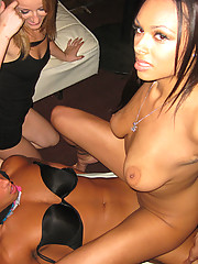 Crazy girls having porno fun with a well-hung stripper