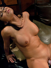 Asian tight pussy babe gets machine fucked in her apartment by two fast, relentless machines  She cums from the robots while her boyfriend sleeps!