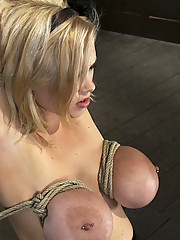 Huge titted slut bound, and fucked until she squirts!  Tight Breast bondage and squirting pussy!