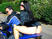 Amazing stacked hot big tits babe gets a ride on a bike then takes a mega dong fuck in her mouth and craem all over her body hot vids